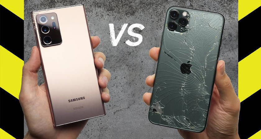 Сотрудники PhoneBuff узнали, кто прочнее: iPhone 11 Pro Max VS Galaxy Note 20 Ultra